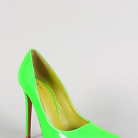 Shoe Republic Neon Patent Pointy Toe Stiletto Pump Color: Neon Green, Size: 7