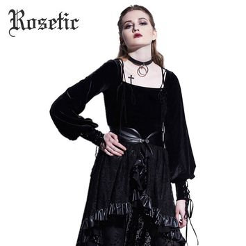 Gothic Blouse Fashion Black Slim Short Lantern Sleeve Women Goth Shirt Young Lace-Up Palace Tops Darkness Gothics Blouse