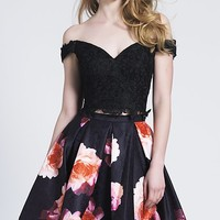 Short Black Print Two-Piece Homecoming Dress