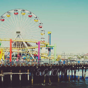 Santa Monica Pier Beach Photography POSTER SIZE 20x30 PRINT Los Angeles California West Coast Summer Ocean