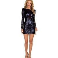 Sale-navy Power Sequin Dress