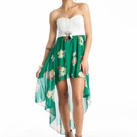 floral high-low tube dress $35.70 in WHITEMULTI - Casual | GoJane.com