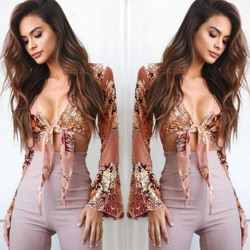Day-First™ Tiffany Floral Bell Sleeve Top - Fashion Women Ladies Summer Long Sleeve Shirt Loose Casual Blouse Tops T-Shirt
