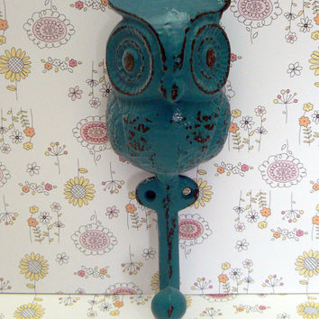 Owl Hook Chunky Big Eyed Woodsy Cast Iron Owl Shabby Chic Lagoon Teal Blue Aqua Towel Coat Jewelry Keys Pet Leash Rustic Woodland Wall Hook