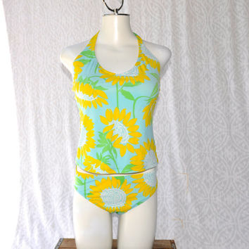 90s Lilly Pulitzer Sunflowers Tankini || Preppy Retro Swimsuit || Two Piece Lilly Pulitzer Bathing Suit. Summer Sunflower Print || 8 medium
