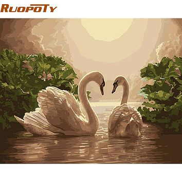 RUOPOTY Lover Animals DIY Painting By Numbers Kits Canvas Painting Home Wall Art Picture For Wedding Decoration Unique Artwork