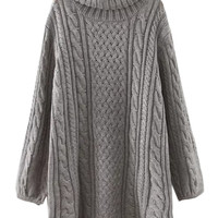 Grey High Neck Cable Long Sleeve Knit Dress