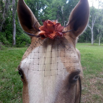 Equine Flower Fascinator and Veil, Birdcage Veil and Hair Flower, Brown and Black Steampunk Goth Forelock Ornament for Horses