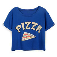 ROMWE | PIZZA Print Blue T-shirt, The Latest Street Fashion