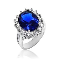 Bling Jewelry Kate Middleton Diana Ring Oval Blue Sapphire Color CZ Engagement Ring Silver Plated 5ct with Crystal Gift Box - Size 9