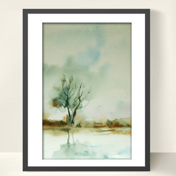 Autumn Landscape, Watercolor Painting Art Print, Nature, Watercolor Art, Landscape Painting