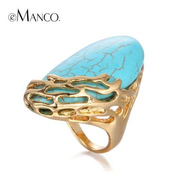 VONE7HQ OPAL FERRIE - Natural Stone Ethnic Vintage Geometric Large Turquoise Gold Plated Statement Ring