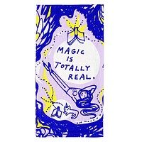Magic Is Totally Real Screen-Printed Dish Towel in Lying Girl and Cat