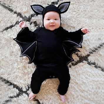 Halloween Newborn Baby clothing Toddler Baby Boys Girls Halloween Bat Cosplay Costume Long Sleeve Romper Hat Outfits Set#40