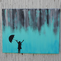 Little Girl Silhouette Standing In Abstract Rain Painting, Hand Painted Canvas Wall Art, Teal and Grey Nursery, Teal and Gray Decor