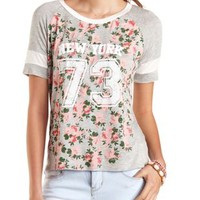 Sporty Floral Graphic Baseball Tee by Charlotte Russe - Charcoal