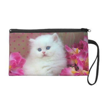 beautiful white cat wristlet purse