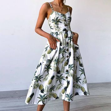 Women's Sexy Sleeveless Boho Floral Summer Dress