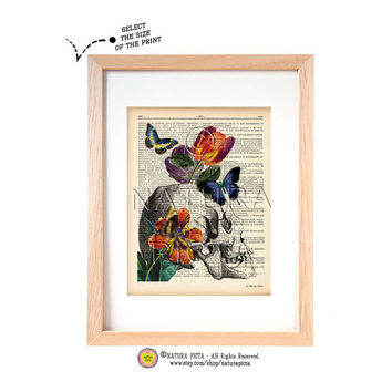 Anatomical skull with tulips and butterflies dictionary print-skull art print-Anatomy print-skull on book page-skull wall art-NATURA PICTA