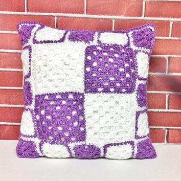 "Crochet Pillow Case, Pillow Cover, Purple Pillow, Granny Square, Reversible Pillow, Handmade, 18"" Pillow, Purple And White, Pillow Sham"