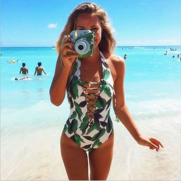 Fashion Print Leaf Swimwear Women One Piece Swimsuit Thong Bathing Suit Swim Wear Beach Bandage Monokini Female