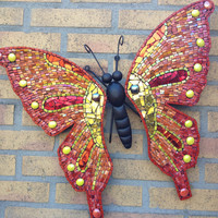 butterfly wall art glass mosaic outdoor metal wall art Red Yellow Orange Gold Mosaic butterfly metal housedecoration gardendecoration