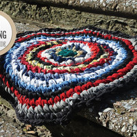 FREE SHIPPING Small round crochet rug, blue, white, black and red crochet rug, bedroom rug