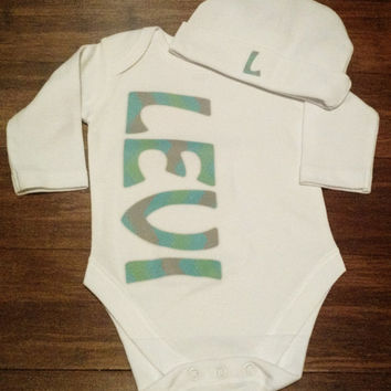 Newborn Long Sleeve Onesuit with matching hat ~ Coming Home Outfit ~ Boys Coming Home ~ Girl's Coming Home