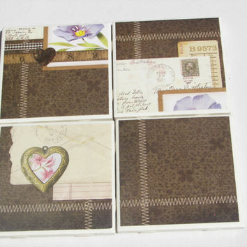 4 Tile Coasters in Vintage Locket Theme