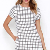 Mic Check One Two Black and Ivory Grid Print Dress