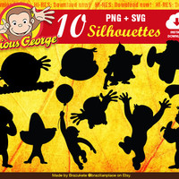 Curious George Cliparts Nickelodeon Monkey Silhouettes Clipart Digital Vector PNG SVG Cutting Machine Transparent High Quality Invitations