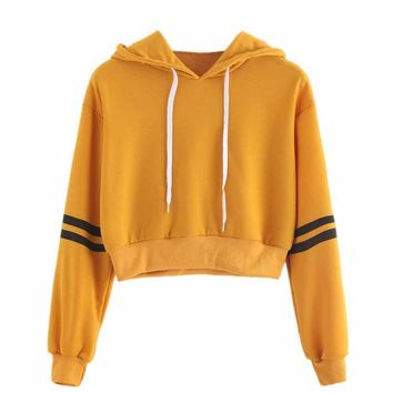 2018 Women Varsity-Striped Drawstring Crop Hoodie Sweatshirt Jumper Crop Pullover Women Hoodie Sweatshirts Women Solid Tops