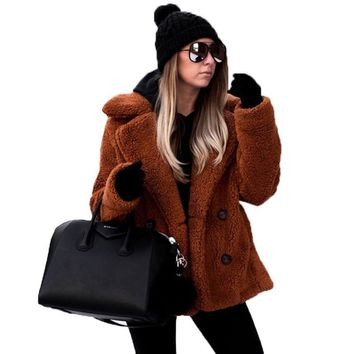 plus size fleece faux fur jacket coat women winter pockets thick teddy coat female soft plush overcoat veste fourrure