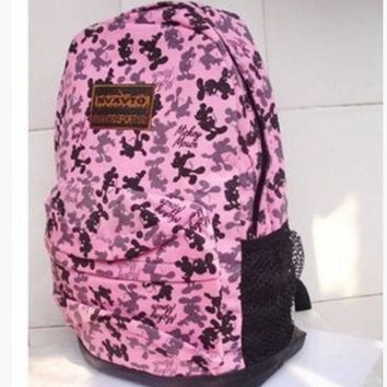 Ms unisex casual canvas backpack backpack bag bag students Mickey Pink