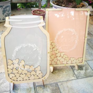 Personalised Wedding Guest book, Custom Drop top Drop box wedding Decoration alternative Guest Book , Rustic Wedding Gift