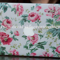 Flower macbook decal macbook air decal cover by creativedecalskin