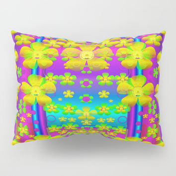 Outside the curtain it is peace florals and love Pillow Sham by Pepita Selles
