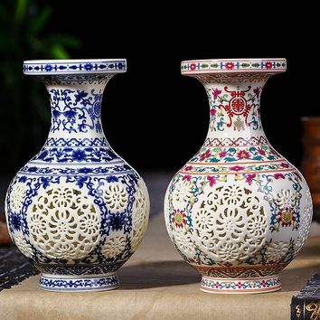 Ceramic Vase Chinese Pierced Vase Wedding Gifts Home Handicraft Furnishing Articles