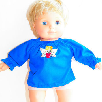 "American Girl Bitty Baby Clothes 15"" Doll Clothes Royal Blue Christmas Heart Angel Peasant Blouse"
