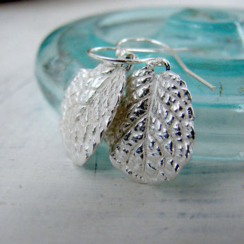 Rustic Dangle Silver Mint Leaf Earring