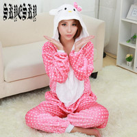 New kingurumi Hello Kitty Pajamas For Women Nightgown Hello Kitty Pink Pajama Adult Pajama One Piece Polyester Pajamas Pyjamas