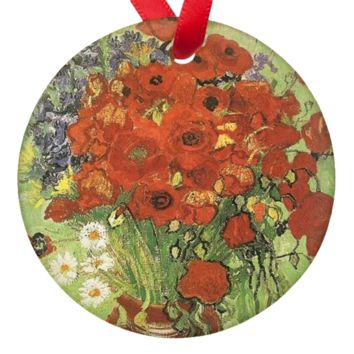 Vincent Van Gogh Poppies Porcelain Ornaments
