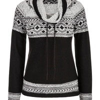 Patterned Funnel Neck Sweater - Black