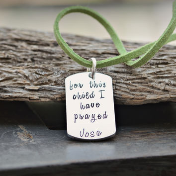 For this child I have prayed - 1 Samuel 1:27 - Child name Necklace - Leather Cord Necklace - Child Alert Necklace - Child Allergy Necklace -