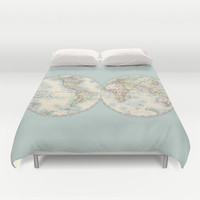World Map Duvet Cover - Hemispheres - cream, pastel, spring, bed -teal,  bedroom, travel decor, cozy soft, pastel, winter, warm, wanderlust