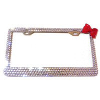 250 crystals License plate frames Crystals bling diamond rhinestone  red bow crystals
