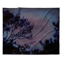 "Robin Dickinson ""Twilight"" Purple Tree Fleece Throw Blanket"