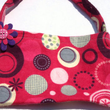 pink polka dot purse- childs bag- girls