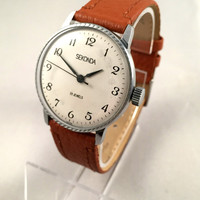 "Vintage Gent's Wristwatch ""SECONDA"". Mechanical Soviet men's watch, with white dial and black numerals. Comes with new leather band!"