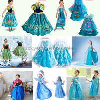 Free DHL Frozen dresses Elsa Blue Dress Anna Dresses Kids Summer Gauze Clothing Princess Short Sleeve White Lace Party